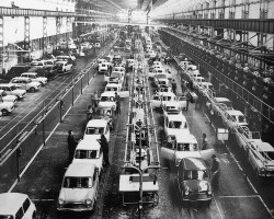 This MINI assembly line photo of unknown vintage was taken at the company's Innocenti factory in Lambrate, Italy.