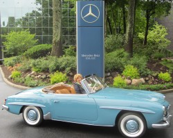 blue 1956 Mercedes 190SL