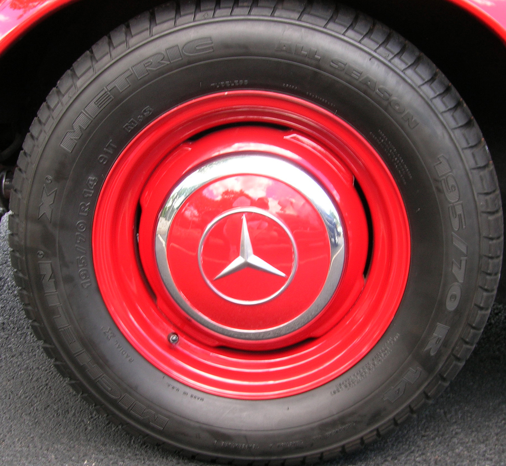 1963 Mercedes 230SL wheel at the 2013 June Jamboree in Montvale, NJ