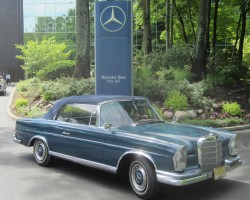 blue 1964 mercedes 230se convertible