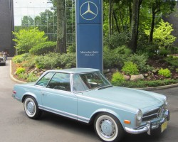 blue 1970 Mercedes 280SL