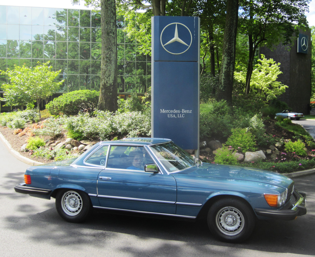blue 1978 mercedes 450sl