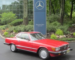 red 1987 Mercedes 560SL euro lights