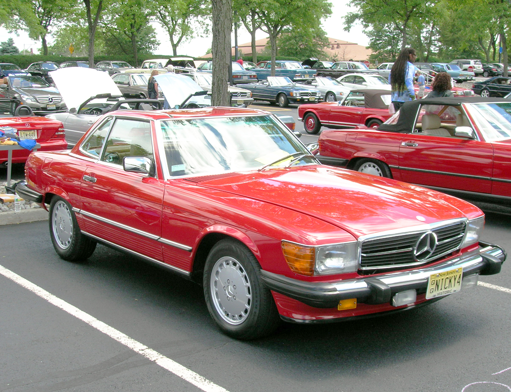 red 1987 mercedes 560SL