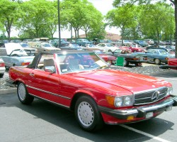 red 1988 mercedes 560SL