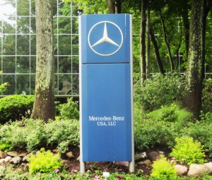 Mercedes benz corporate headquarters lower driveway sign for Mercedes benz main office