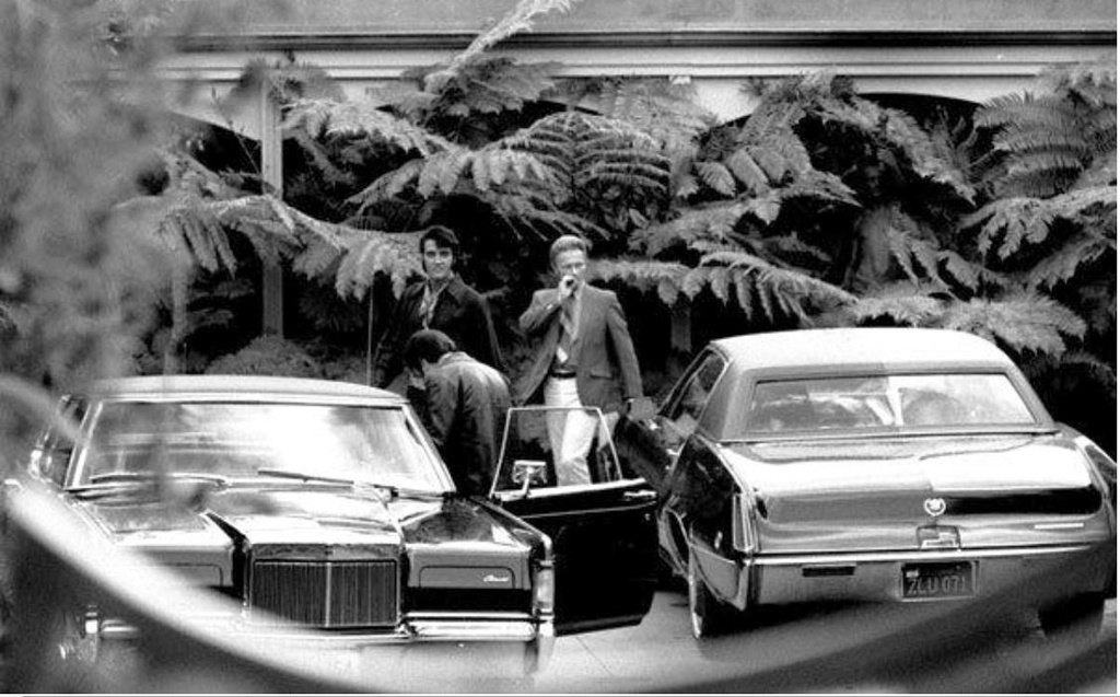 Elvis Presley With His 1969 Lincoln Mark Iii And 1969