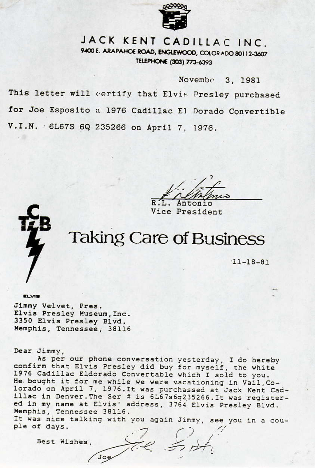 Certification Of Elvis Presley Purchase Of A 1976 Cadillac