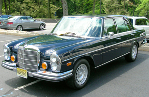 A 1972 Mercedes 280SE equipped with factory authentic 15-inch Fuchs aluminum wheels.