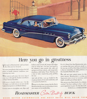 1954 Buick Roadmaster coupe ad