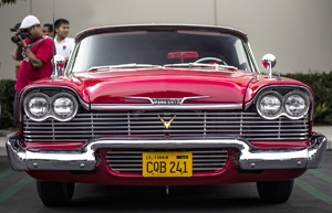 Stephen King was ten years old when 1958 models hit the showrooms, the age where the most lasting impressions are typically formed among automobile fanatics. It's easy to tell that King is a fellow fanatic and that the menacing-looking front end of 1957-59 Plymouth Fury models made a lasting impression in his mind.  Looking at the '58 above, it's easy to understand why.