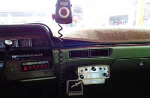 A typical view from the front seat of a 1970 Dodge Polara state police patrol car.