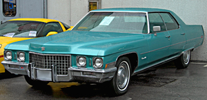 A 1971 Cadillac Sedan de Ville sans the vinyl roof option.