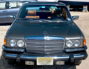 Front view of a Mercedes 300SD turbo diesel - 1979 model shown.