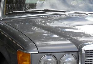 "The fact that somebody, or some thing, riding on the hood of the car could easily grab onto the wipers means that the car was a 116-body Mercedes S-class of 1973-80 vintage.  Since diesel engines were not available in that model before 1978, ""The Princess"" was definitely a 1978, 1979, or 1980 model.  The next generation Mercedes S-class had recessed wipers tucked under the hood that would be very hard to reach."