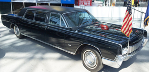Former NY governor Nelson Rockafeller's 1967 Lincoln Continental limousine is on display, along with other noted classics.