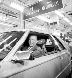 Frank Sinatra driving the first production Imperial off the assembly line in the summer of 1980.