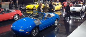 Mazda celebrates 25 years of the Miata with a large display dating back to the 1990 model year.