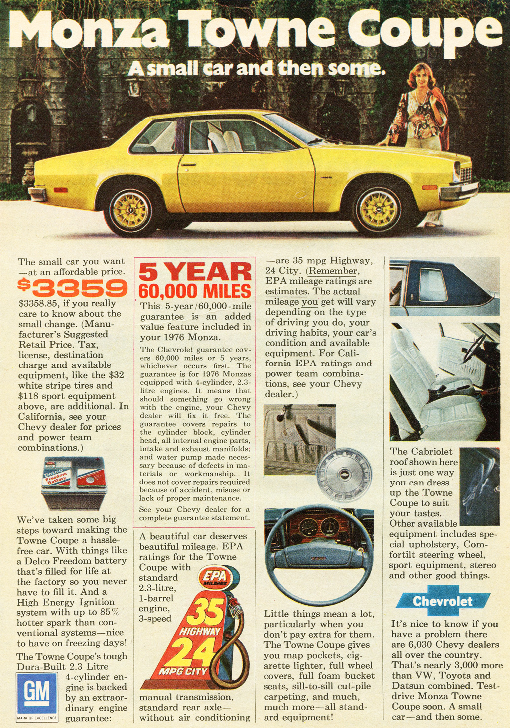 All Chevy 1976 chevrolet monza : 1976 Chevrolet Monza Towne Coupe ad b | CLASSIC CARS TODAY ONLINE