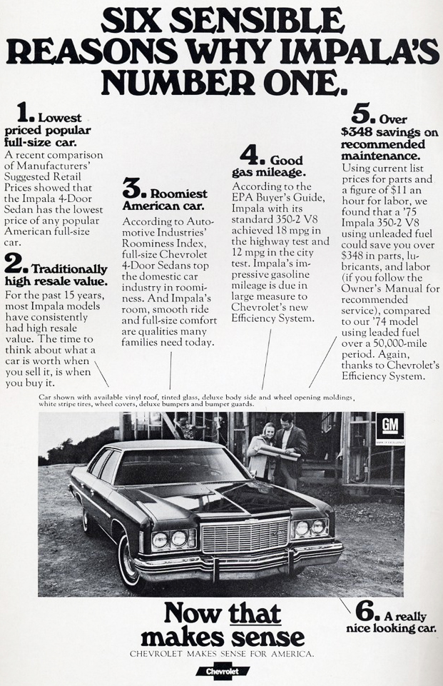 1975 Chevrolet Impala Advertisement Classic Cars Today Online